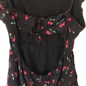 Love + Harmony Pants - Black and red cherry printer romper.